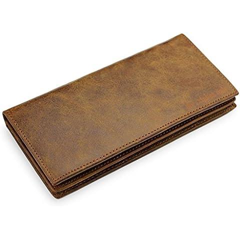 A.P. Donovan - cartera de cuero, muchas ranuras para tarjetas, para hombres (Monedero), monederos, larga y grande, color: marrón claro, 18x9 cm