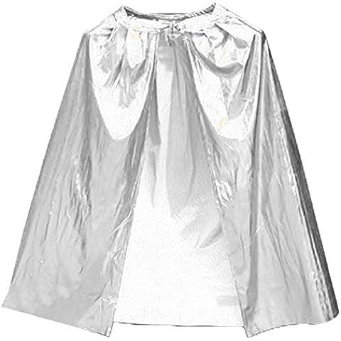 0.9 m bruja capa Wicca traje largo Tippet cabo chico niños Halloween traje teatro Cosplay plata