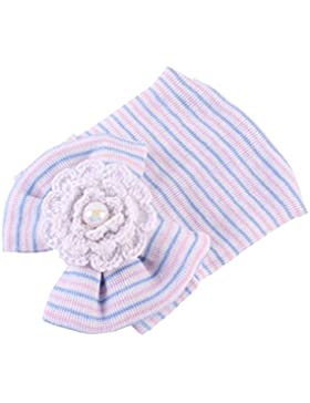 YeahiBaby Berretto invernale per neonati lavorato a maglia carino cappello con fiore per ragazzi bambini (Striscia)