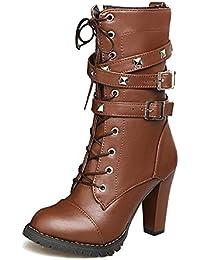 8d457489d6d0d Minetom Otoño Invierno Cómodas Para Mujer Zapato Boots Shoes Cuero Botines  Botas De Callejero Moda Tacones