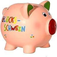 Preisvergleich für Glücksschwein Sparschwein Keramik Spardose ca. 6x6,5x8 cm Gelddose Sparbüchse
