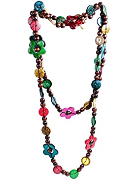 budawi® - Halskette Kokosholz bunt, Länge ca.: 140 cm, Modische Holz Kette, Naturschmuck