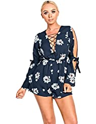 IKRUSH Womens Jessica Navy Floral Cut Out Playsuit
