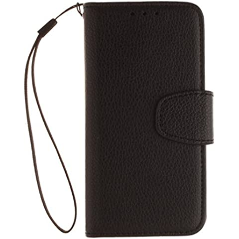 Flip Cover per Apple iPod Touch 5 6, Moonmini® PU Pelle Custodia Wallet a Portafoglio Libro con Stand, Slot, Chiusura Magnetica & Cordone - Black