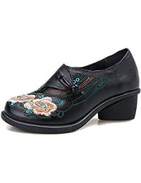 MEI&S La mujer bordado Retro talón bloque tacones zapatos de punta redonda