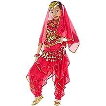 BELLYQUEEN Cojunto Danza Vientre Oriental Belly Dance Traje de Disfraz Carnaval Fiesta Set 7 para Nña