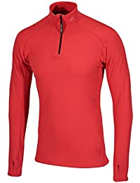 Sub Zero Factor 2 Unisex Thermal Mid Layer Long Sleeve Zip Turtle Neck Top (Red, Medium)