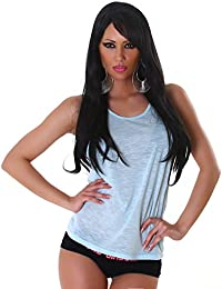 Jela London Leichtes Damen Basic T-Shirt Tank-Top Träger-Top Weiter Armausschnitt und Ringer-Rücken mit Kühleffekt Einheitsgröße (34-38)