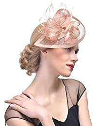 0206c81f ZYCC Pillbox Hat Feather Fascinator Cap Wide Strips Flower Hair Clip Wedding  Hat Bridal Headpiece Hair