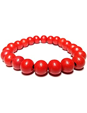 cameleon-shop Armband tibetischen ausziehbar???Perle Holz rot 10?mm???L?nge 17,5?cm