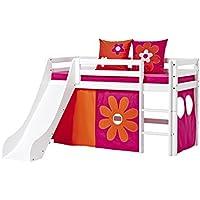 Preisvergleich für Hoppekids Basic-A5-3 Flower Power Textile und Matratze Halbhohes Bett mit Rutsche, Spiel-/Junior-/Kinder-/Jugendbett, Kiefer massiv, Liegefläche 70 x 160 cm, Holz, weiß, 168 x 175 x 105 cm