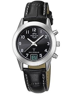 Master Time Funk Advanced Series Damenuhr MTLS-10450-22L, Leder Armbanduhr Schwarz