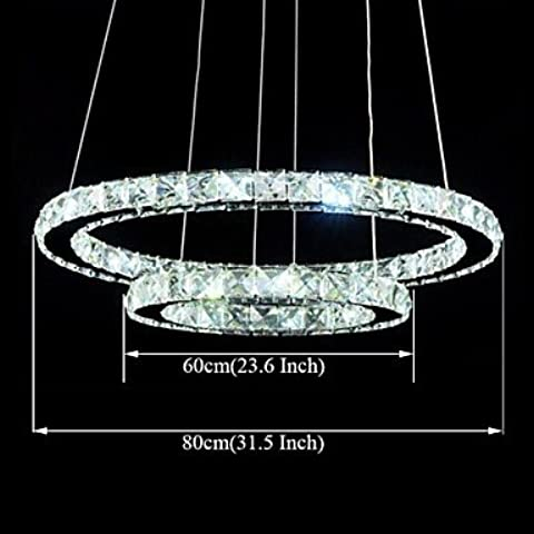 LYNDM-Miglior regalo di Natale, Cristallo a LED illumina Ciondolo Lampade in cristallo trasparente a doppio anello tondo 60cm più 80cm infissi , 220-240V - Anello Perla Indiana