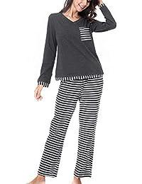 RIKILIO Women s Long Sleeve Pajama Set V-Neck Sleepwear XS-XL 3ac177167