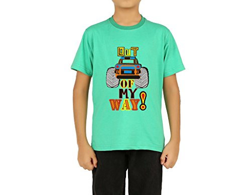 Clifton Boys Printed Melange T-Shirts Half Sleeve R-Neck-Out Of My Way-Stump Green -M