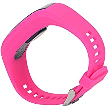 Bandas de Muñeca Soporte de correa de reloj de la pulsera de silicona para Garmin vivo Smart HR Actividad Rastreador Pulsera, color Peach Red