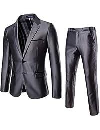 Longra-Uomo Abito Uomo 2 Pezzi Slim Fit Smoking Elegante Blazer da  Matrimonio One Button 55aff37d2a7