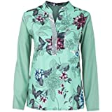 YANG YI Clearance Offer Women's Casual Stylish V Neck Long Sleeves Large Size Floral Print Tops T-Shirts & Shirts Sequined Blouse