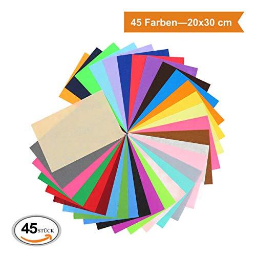 Einfach Kreative Kostüm Super - ZADAWERK® Filz - 1 mm - 20 x 30 cm (Bunt, 45 Stück) Bastelfilz Filzstoff Filzplatten