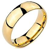 MeMeDIY 6mm Oro Dorado Tono Acero Inoxidable Banda Venda Anillo Ring Alianzas Boda Amor Love Talla Tamaño 12 - Grabado Personalizado