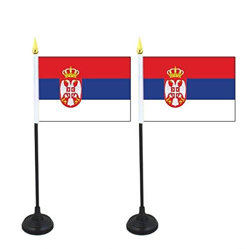 Sonia Originelli 2er SET Mini Fahne Flagge Länder Fan WM Fußball inkl. Halter Farbe Serbien