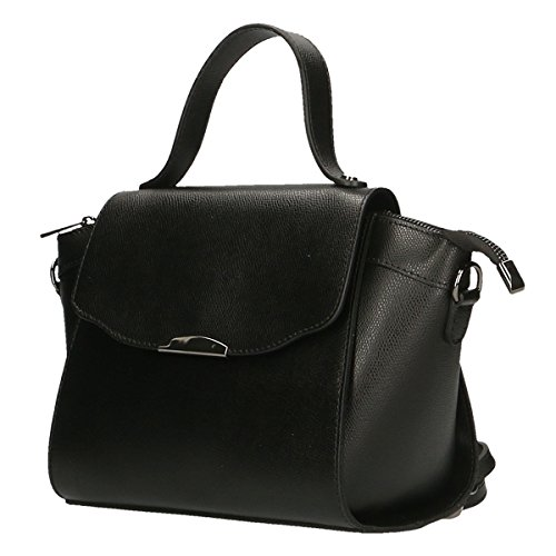 Chicca Borse Frauen Bowling-Tasche aus echtem Leder Made in Italy 30x20x12 Cm Schwarz
