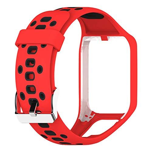 Uhrengürtel - TianranRT☞☞ Zwei-Farben-Ersatzarmbandserie Uhrengürtel Modische Gürtelfarbenvielfalt für die TomTom2 / 3-Serie (rot) - Ersatz-bodenbürste