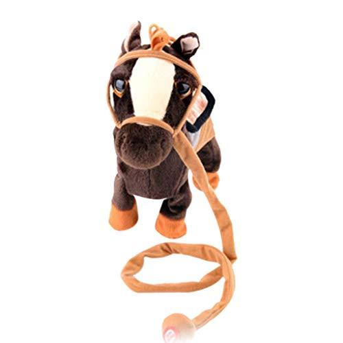 Sulifor Elektrisches Spielzeug des Plüschfaserseil-Pferds, gehender Tanz des weichen weichen Puppebabyspielzeugs des Musikpferdes -