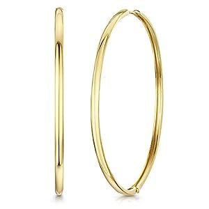 Amberta Cerchi in Argento Sterling 925 - Placcato Oro 18K - Cerchio Orecchini - Huggie Orecchini - Diametro: 65 mm