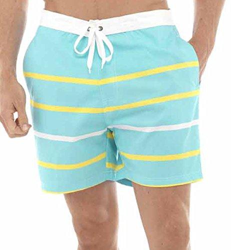 IMTD pour homme Motif rayures Short avec doublure en Mesh Short de bain plage Piscine M-XXL courtes vacances - Turquoise