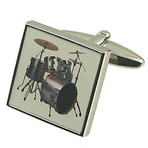 Music Design pesante Kit Cuff-Daddy-Gemelli in argento Sterling 925 solido, Confezione regalo messaggio personalizzato, Gemelli