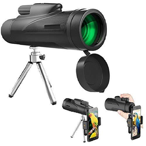 ieleacc 10X50 Monokular Teleskop mit Handy Halterung,HD Monokular mit mobilem Adapter & Stativ, Wasserdicht & Stoßfest, BAK4 Prisma - für Camping/Wildlife Scenery/Reisen