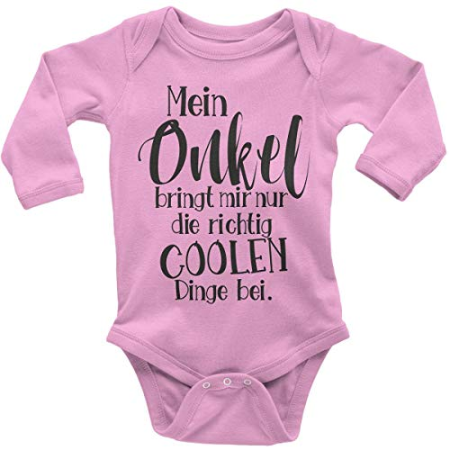 Mikalino Babybody mit Spruch für Jungen Mädchen Unisex Langarm Mein Onkel bringt Mir nur die coolen Dinge bei | handbedruckt in Deutschland | Handmade with Love, Farbe:rosa, Grösse:80 (Sachen Cool Baby)