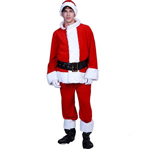 Unbekannt Men Es Deluxe Santa Suit 6PC, Weihnachten Erwachsene Santa Claus Kostüm, Professioneller Weihnachtsmann Anzug Weihnachtskleid Eine Größe