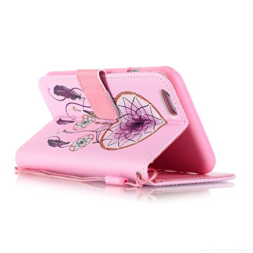 iPhone 6/6S Hülle, Slim Retro PU Leder Bookstyle Hülle Tasche Flip Wallet Case mit Strap Portable Handytasche Anti-Scratch Shell Cash Pouch ID Card Slot Magnetverschluss Etui Soft Silikon für Apple iP Pinknet