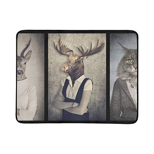 JEOLVP Tier-Kleidungs-Konzept-Grafik-Weinlese-Art-tragbare und Faltbare Deckenmatte 60x78 Zoll-handliche Matte für kampierenden (Kostüm Kunst Konzept)