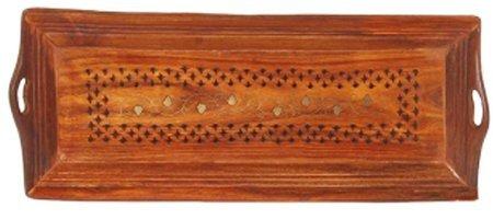 Cadeau de service en bois plateau avec Flower Design 13x7inch laiton de travail, Plateau décoratif en bois, décoratif Plateau, Fruit en bois Platter,