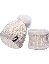 91a680087179 heekpek Pack Bonnet Et Écharpe Femme, écharpe pour femmes cercle et ensemble  bonnet au crochet