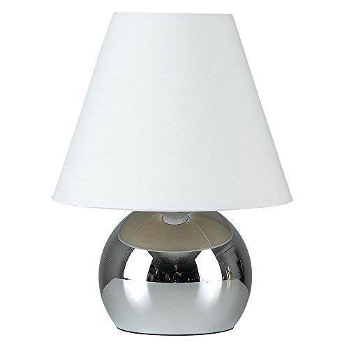MiniSun - Lámpara de mesa táctil 'Doriane' - con bello acabado cromado y pantalla blanca
