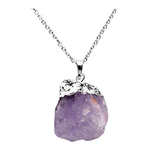 Jovivi irregolare naturale ametista grezzo rock quartz healing crystal gemstone pendant necklace amethyst