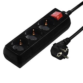 Hama Steckdosenleiste 3-fach (mit Schalter, Kindersicherung, Kabellänge 3m, Mehrfachsteckdose) schwarz
