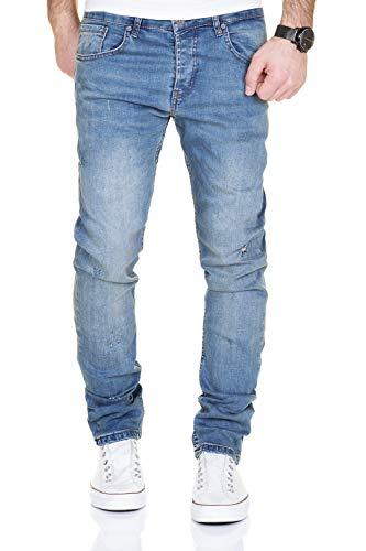 MERISH Jeans Herren Destroyed Hose Used-Look Jeanshose Männer Denim 2081-1001 (32-32, 1001 Hellblau)