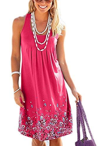 KISSMODA Damen Kleider Berufung Sommer Strandkleid Für Frauen Rose Red XL Floral Sommer Tank Kleid