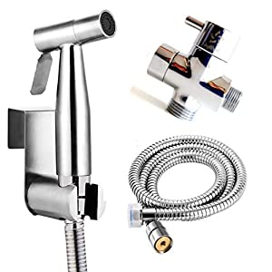 BbfStyle – SUS 304 – Set de ducha wc con válvula de 3 vías (3/8″-12/17 mm) – Set de ducha de bides para higiene intima – Finición Nickel Brossé – Taharat Taharet