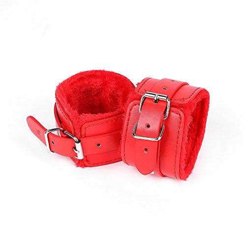 Bosiwe Handschellen Erotik Handfessel sexspielzeug fesseln bondage set Rot und weiches Püsch und hochwertige PU Leder fesseln handschellen
