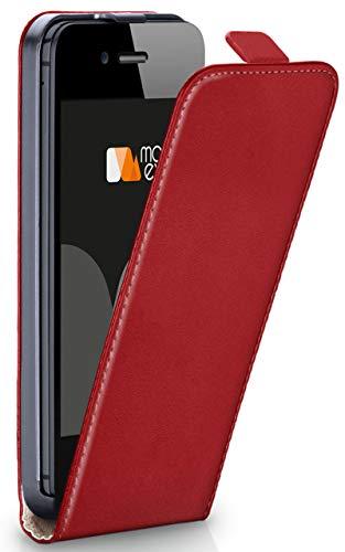 Magnetverschluss [Rundum-Schutz] passend für iPhone 5S / 5 / iPhone SE | 360° Handycover aus feinem Premium Kunst-Leder, Rot ()