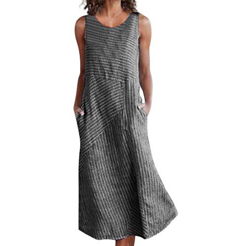 WUDUBE Robes pour Femmes ❤ Col Rond sans Manche Lâche Coton et Lin Robe d'été Casual Chic...