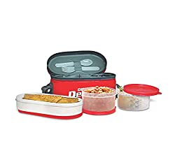 Double Decker Insulated Lunch Box By Milton, Color May Vary, 3 Container