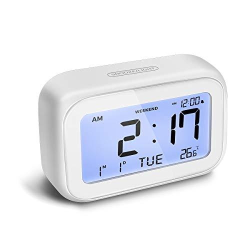 Laelr Eingebauter Tastenwecker, Digitaler Wecker im 12-Stunden-24-Stunden-Format mit Hintergrundbeleuchtung für die Schlummerzeit, Wochenendmodus, Datum und Temperatur