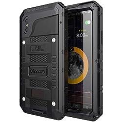 Beeasy Coque pour iPhone XS Antichoc,Étanche Protecteur d'Écran Intégré Qualité Militaire Robuste Résistant Metal IP68 Waterproof Antipoussière Anti Pluie Étui pour Le Travail,Housse d'Extérieur,Noir